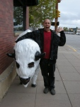 Jamie, downtown in Cody, Wyoming with his Buffalo Buddy