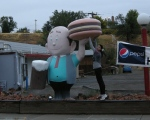 Jen is so strong, she can lift this giant-metal burger. Driving back to Yellowstone from THermopolis, Wyoming