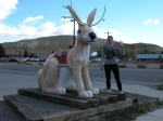 Jen and The Jackelope. Driving back to Yellowstone from THermopolis, Wyoming