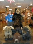 Jen with some buddies in a West Yellowstone Gift Shop
