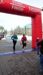 Jen & Cherie cross the finish line