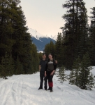 J & J pose on our halfway Baldy Hills hike up @ Maligne Lake