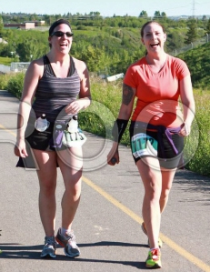 Paula & Jen enjoying the Stampede Road Race